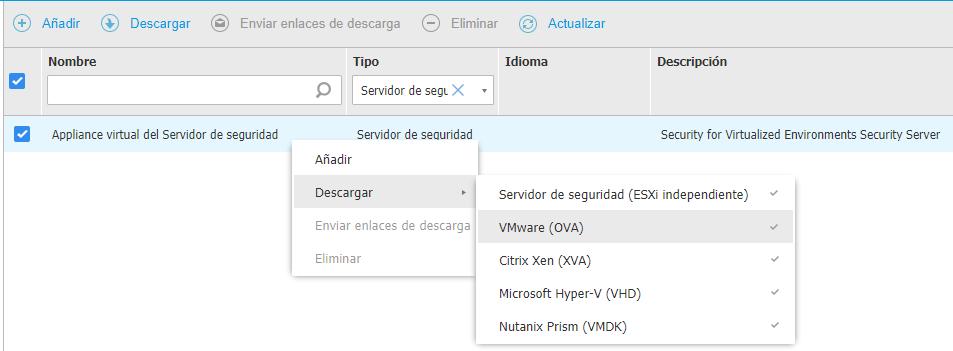 Descarga de Security Server Virtual Appliance (SVA)