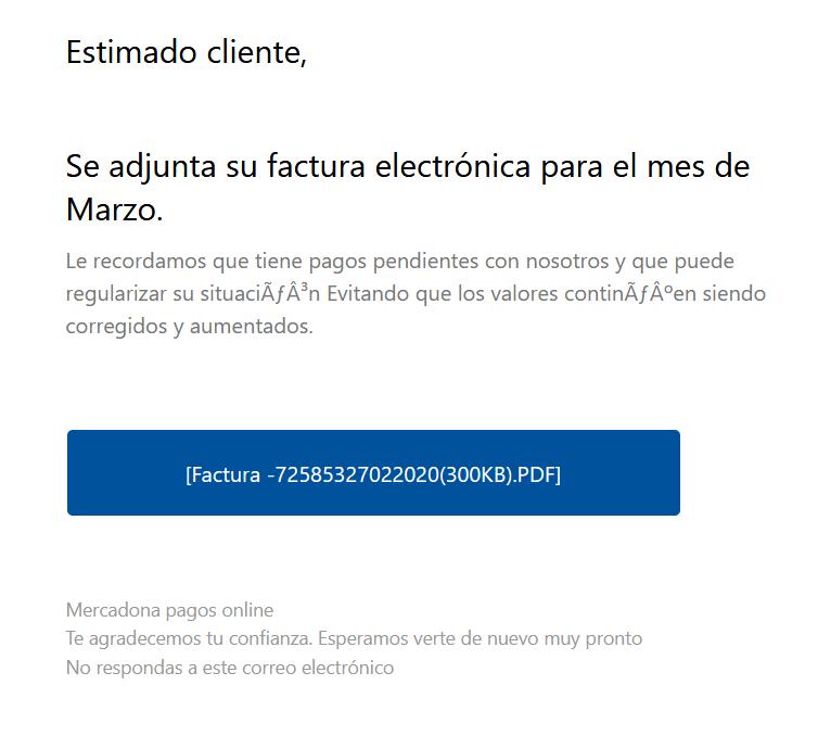 Correo Electrónico de Mercadona Infectado con Virus